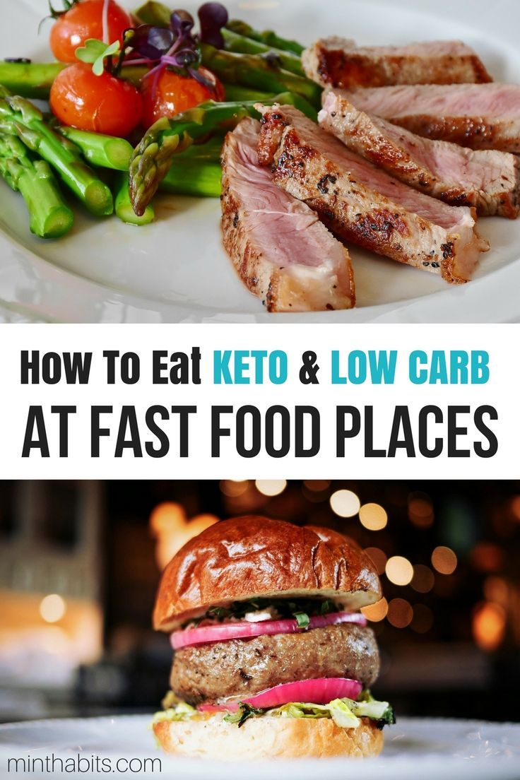 Learn how to eat Keto at fast food places and stay in ketosis with these 15 low carb fast food tips via @minthabits