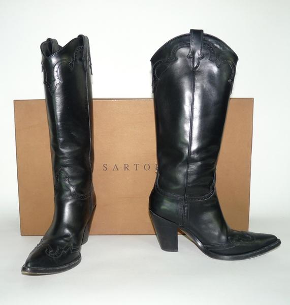 sartore bottes santiag en cuir noir depot vente de luxe tendance shopping | TendanceShopping.com