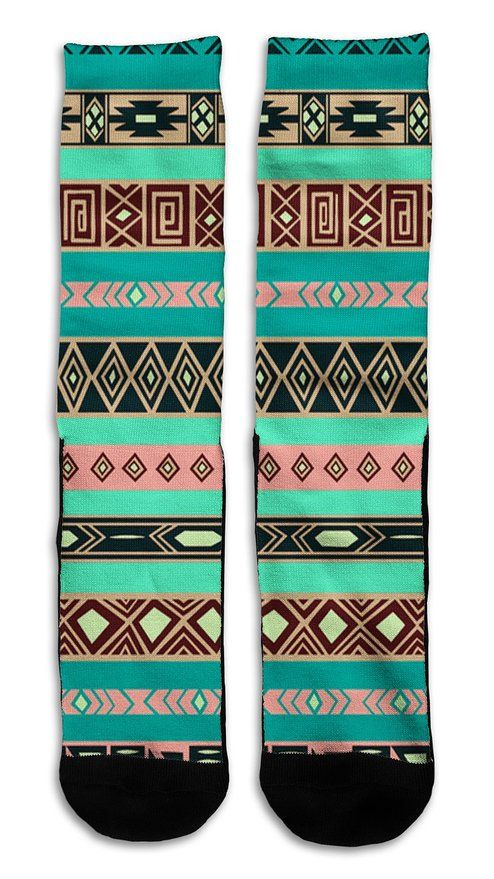 Aztec 2 Indian Style - Custom Elite Style Athletic Sport Socks Crew