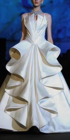 Bridal gown with large ruffles