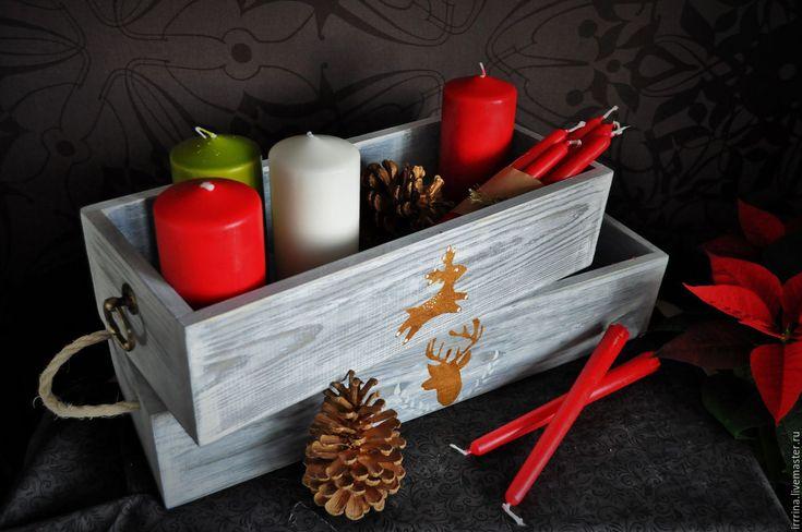Купить Деревянный ящик для цветочных композиций - серый, Деревянный ящик, ящик…