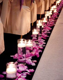Purple flowers and candles