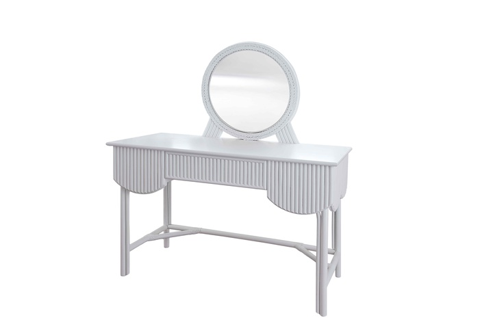 The New Broadway Dressing Table.  A romantic and curvaceous scalloped dressing table with a hidden drawer and plaited mirror surround.  Made in cane and woven rattan by our rattan weavers in Leicestershire.