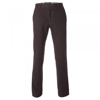 A seasonal berry tailored fit casual chino. The fabric is a soft cotton canvas with a small % of stretch, making this a very comfortable trouser. Features include - zip fly, contrast stitching detail, narrow belt loops, a finished hem, side pockets and double jett button hip pockets, Magee leather tab at the back and gooffer loop.