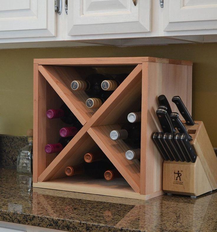 Wine Storage Cabinet Cube Holder 12 Bottle Kitchen Home Redwood Wood VinoGrotto  #VinoGrotto