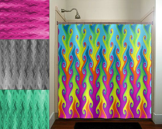Multi color vines bright colorful rainbow shower curtain for Bright coloured bathroom accessories