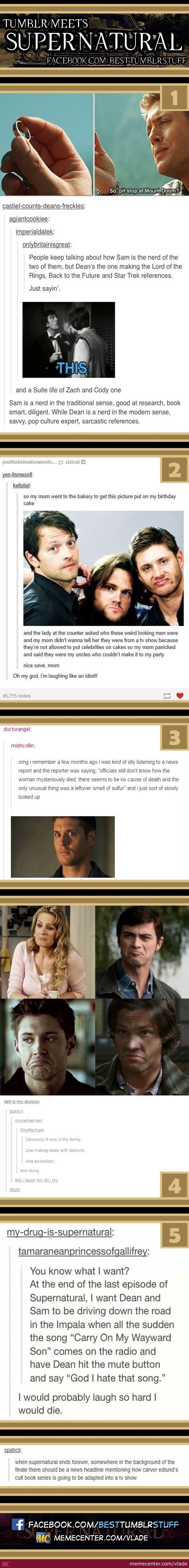 Tumblr Meets Supernatural by vlade - Meme Center. The last two kill me...