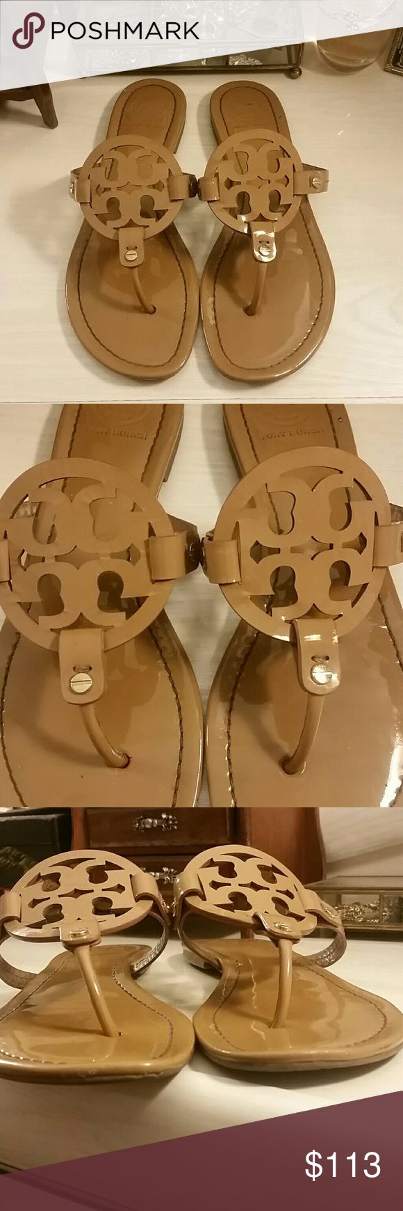 Tory Burch Miller Sandals in Patent Sand ------PRICE FIRM ------- Preowned Tory Burch Miller Sandals in Patent Sand.  Wear to fronts, footbed, heels, soles.  Size 9.5 A measument was taken for you to compare to a sandal you already own to insure an accurate fit.  Just in time for vacation 🌞 or rush 📚.   No box/dustbag.  *No trades/holds,  thank you* -------PRICE FIRM------ Tory Burch Shoes Sandals