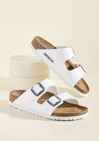 Strappy Camper Sandal in White - Narrow
