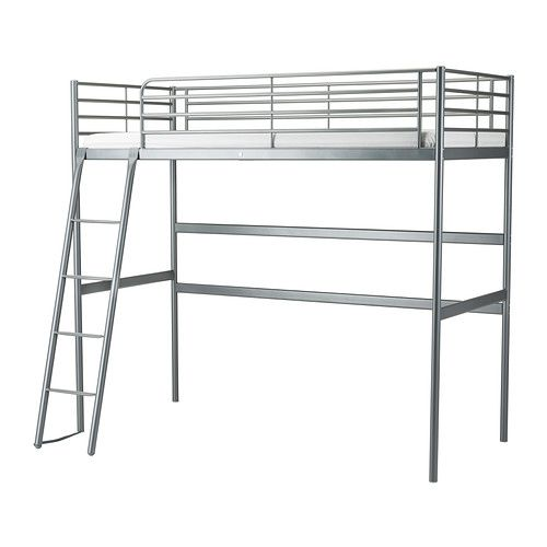 SVÄRTA Loft bed frame   - IKEA. This is less attractive/organic than the STORA, but it's a single size (STORA is full size) and requires less ceiling height.