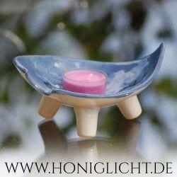 Pequeño trípode Bowl - 13x10cm - cerámica vidriada - azul
