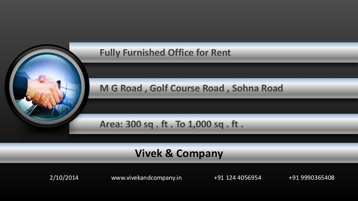 Fully furnished  IT office for  rent m g road golf course road sohna road in gurgaon by vivek bhaskar via slideshare