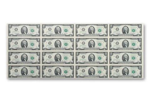 Uncut Sheet of 2 Dollar Bills – Sheet Of 16 – #Bil…
