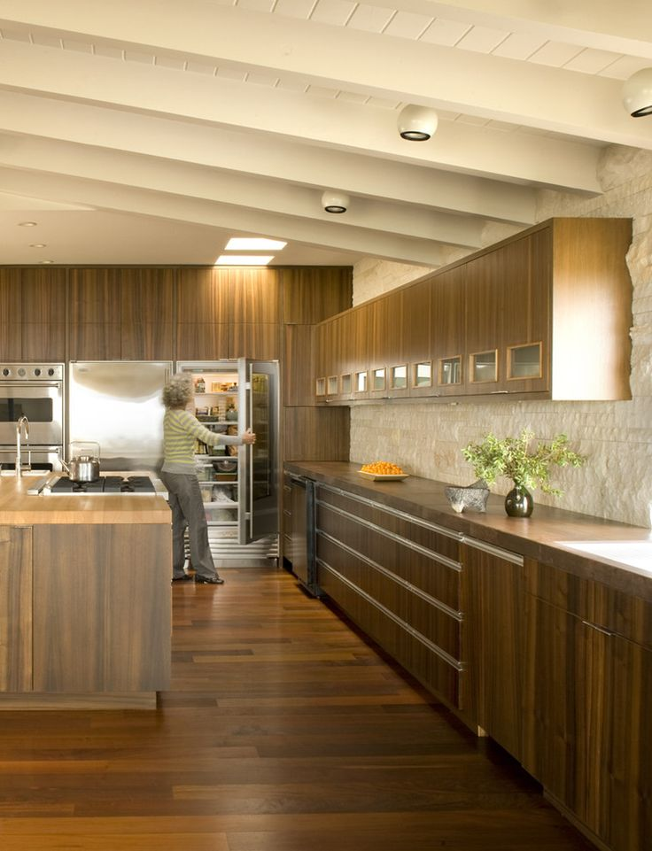 Alluring Walnut Cabinets Home Interior Design Midcentury Kitchen Orange County Home Insurance Ceiling Lighting Exposed Beams