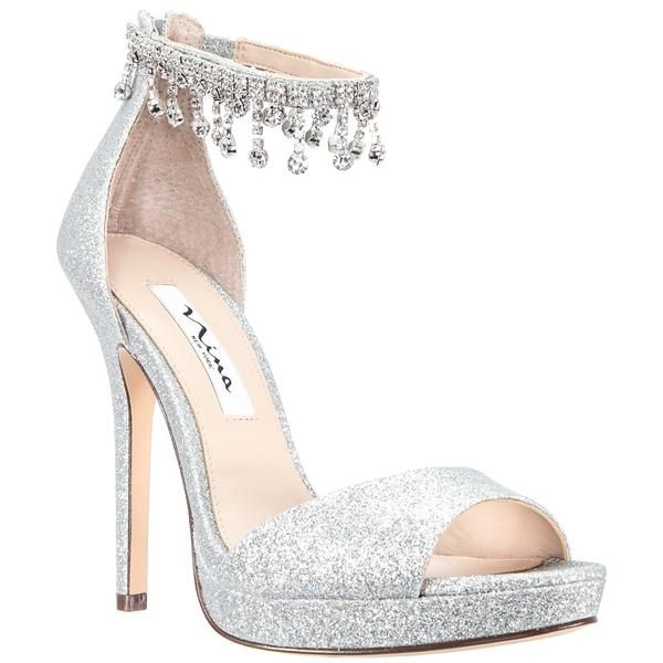 silver glitter high heels for prom