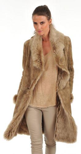 Veste peau femme camel