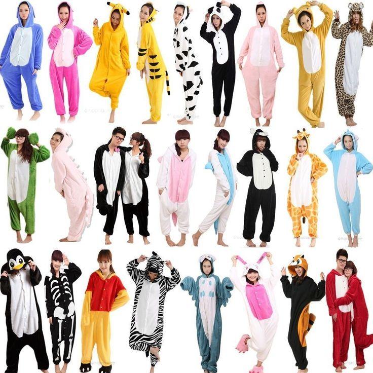 Hot Unisex Adult Pajamas Kigurumi Cosplay Costume Animal Onesie Sleepwear Suit #