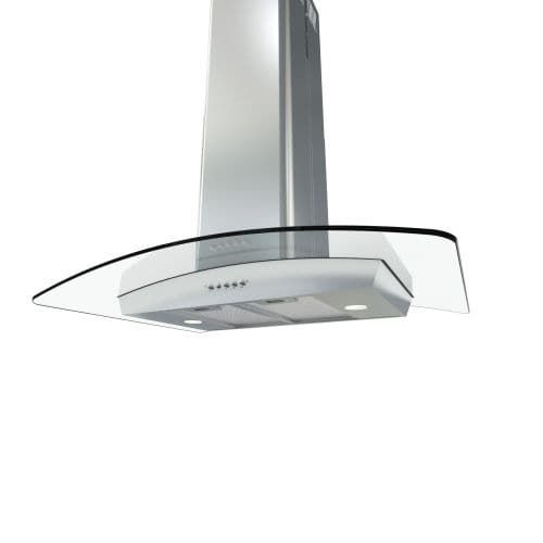 Zephyr BML-E36AG290 290 CFM 36 Inch Wide Island (Blue) Range Hood with Halogen Lighting and Convex Glass Canopy from the Brisas