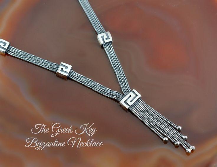 byzantine chain Greek Key silver necklace, byzantine chain necklace, chain necklace, greek key necklace, silver chain necklace, greek key by GreekGoddessJewelry on Etsy