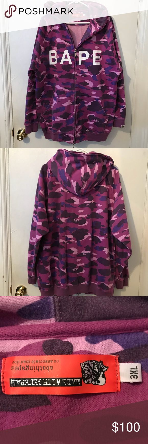 Vintage Bape Full Zip Hoodie Vintage Bathing Ape purple camo full zip hoodie in XXXL. Zips all the way up to the hood. No rips or stains. Slight fading and some pilling (see close up pics) but still has a lot of life left. Bape Sweaters Zip Up