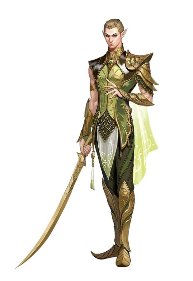 Male Elf Fighter - Pathfinder PFRPG DND D&D 3.5 5th ed d20 fantasy
