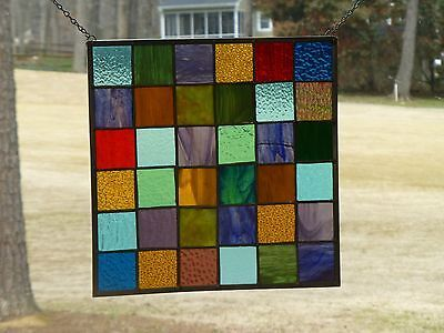 Rustic Design Patchwork Stained Glass Panel-Handmade by me!