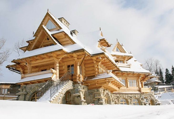 Cabin in Poland; epic and perfect down to the very finest detail! Lighter wood, modern decor but still mountain-esque, stone base w/ arches, spacious and warm.. etc etc!