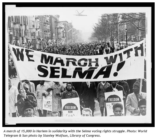 A march of 15,000 in Harlem in solidarity with the Selma voting rights struggle. World Telegram & Sun photo by Stanley Wolfson. Library of Congress.