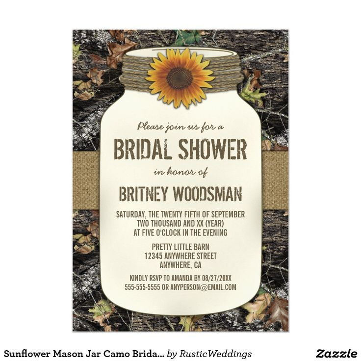 BRIDAL SHOWER Sunflower & Twine Mason Jar Camo Bridal Shower Camouflage Invites Announcements Invitations  #bridalshower #sunflower #camo #wedding #camouflage