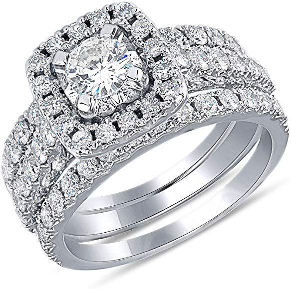 2 Carat Diamond Wedding Ring Igi Certified 14 Karat White Gold Diamond Ring For Women Diamond Weddi In 2020 White Gold Diamond Rings Women Diamond Gold Diamond Rings