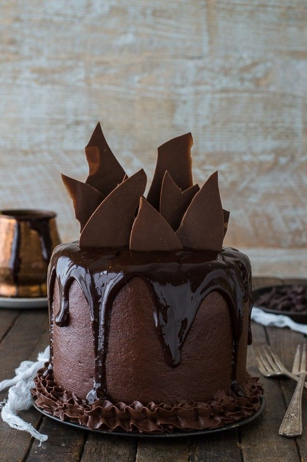 Chocolate Cake with Chocolate Buttercream, Ganaches, and Shards