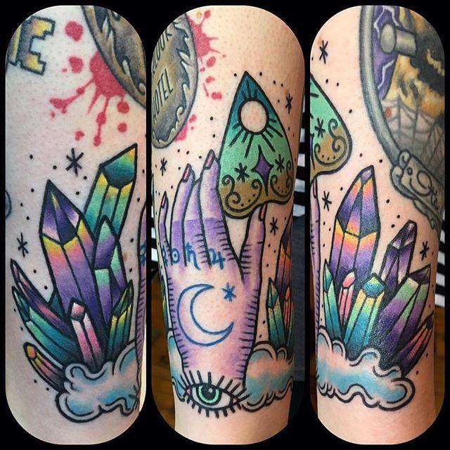 Witchy tattoo by Jennifer Trok @jennifertroktattoos #witchtattoo #ouijatattoo…