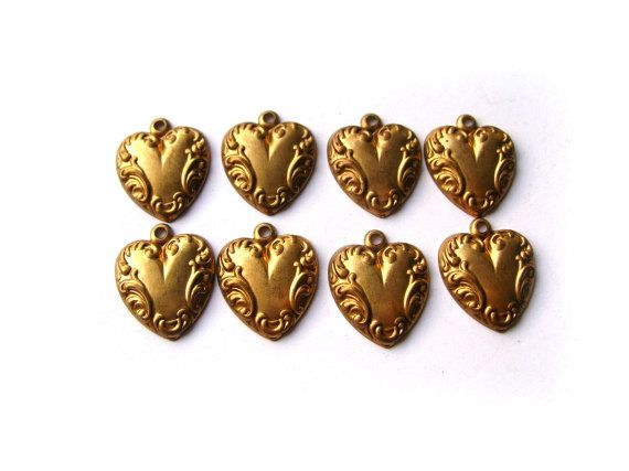 Brass heart charm lot by 2VintageGypsies on Etsy, $4.95
