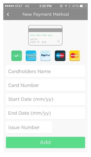 PAYMENT - adding a card