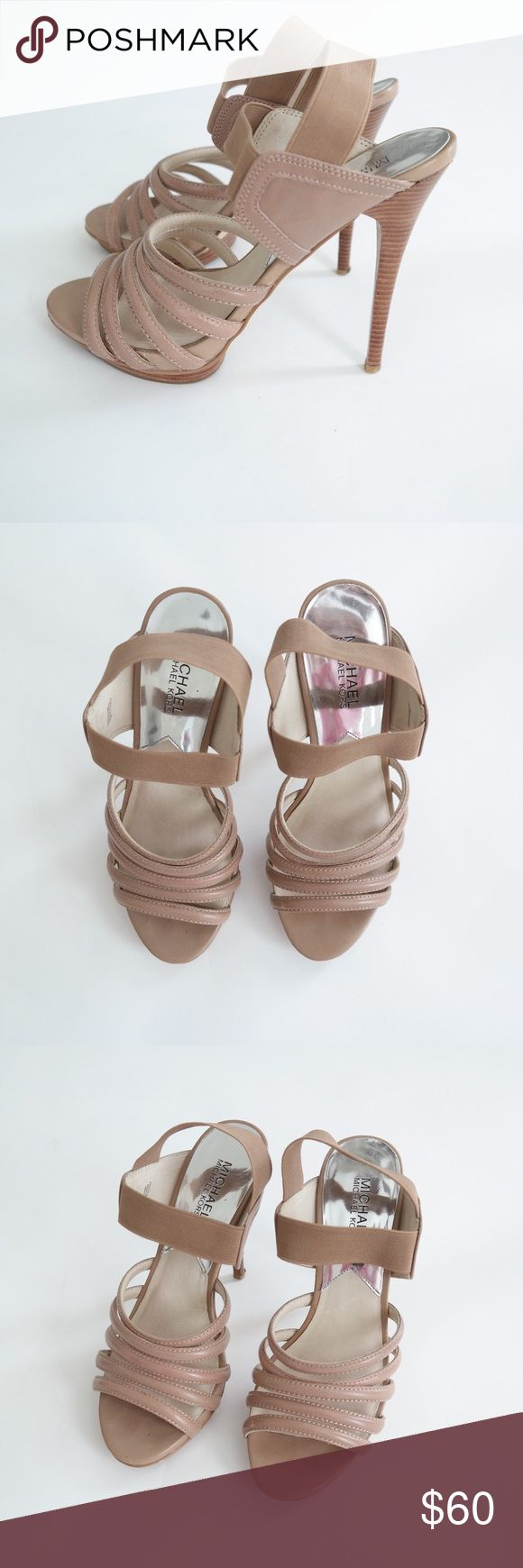 "Michael Kors Nude Strappy High Heels A beautiful & sexy pair of strappy high heel 5"" sandals by Michael Kors. A small platform is at the front of the shoe making these actually very comfortable. The straps around the ankle are elastic. Excellent condition! MICHAEL Michael Kors Shoes Heels"