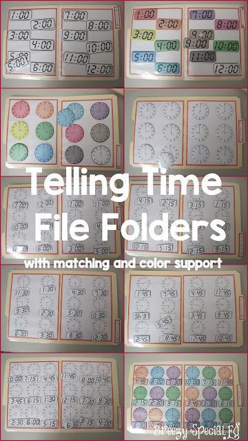 Telling Time File Folders for Special Education with color support