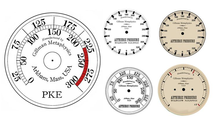 free lovecraft inspired printable steam punk style gauges for metaphysical equipment out of arkham, mass. || HerbertW of deviant art