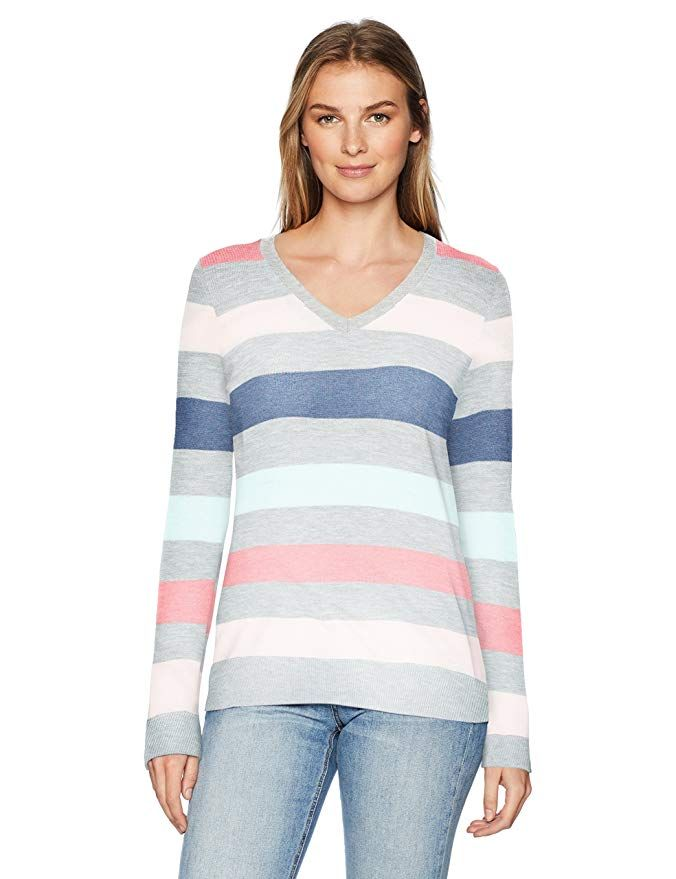 Essentials Women/'s Lightweight V-Neck Tunic Sweater, Black Size X-Large