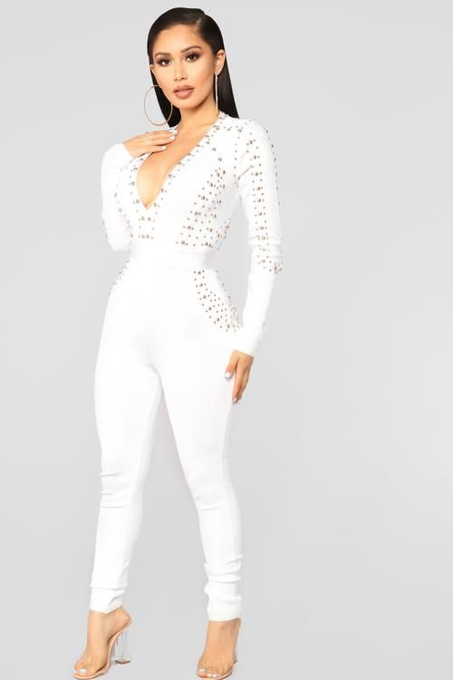 1b419902b56 Rooftop Nights Bandage Jumpsuit - White