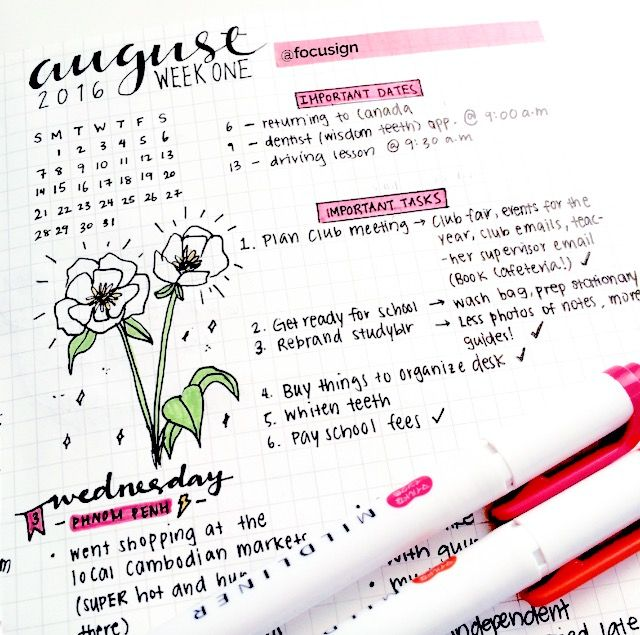 """photos of my august spread taken from my studygram """