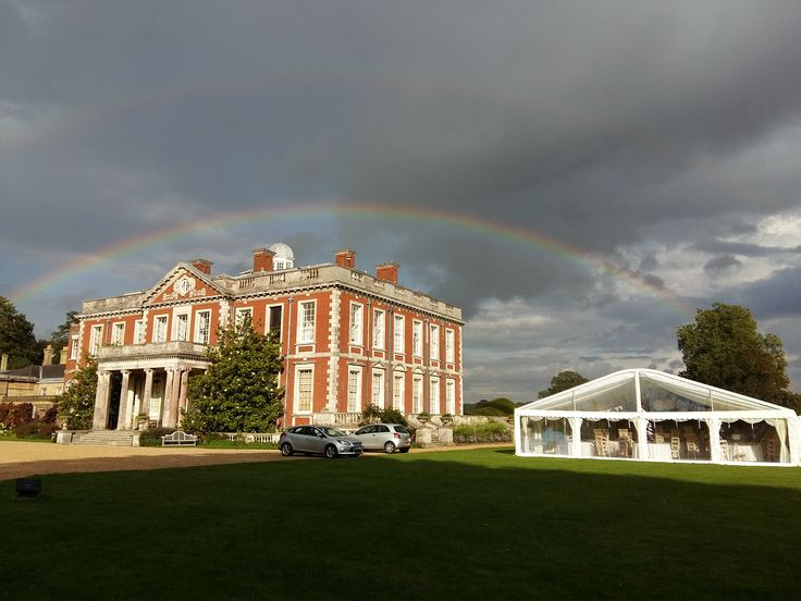 Another rainbow at Stansted but this time with our new multispan marquee being prepared for a wedding ...