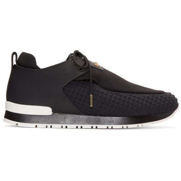 Balmain Black Doda Sneakers (14,930 MXN) ❤ liked on Polyvore featuring shoes, sneakers, black, black trainers, black leather sneakers, black lace up shoes, black laced shoes and black leather trainers