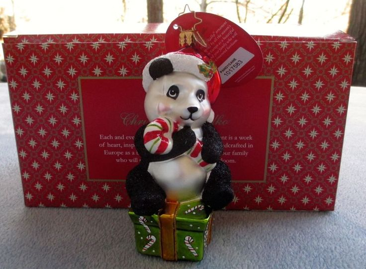 Christopher Radko Christmas Ornament Pandy Cane, Panda Bear Gift #1017583 NIB