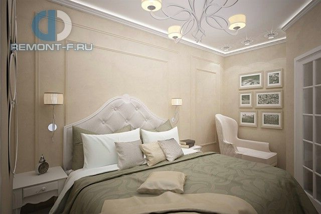 Фото интерьера бежевой спальни