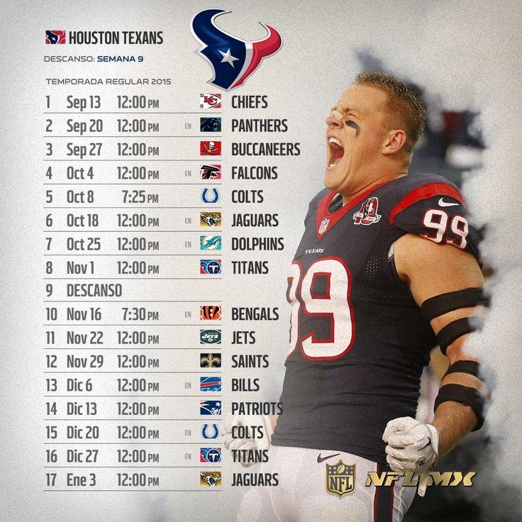 #NFL 2015: Te compartimos los calendarios de tus equipos favoritos para esta Temporada.   Con LIVE TOURS #YaEstásAhí #WeLoveFootball  Por: NFL México  #TEXANS