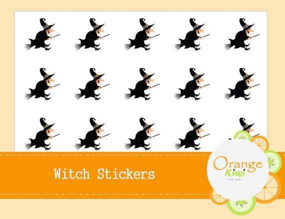Witch Stickers  Halloween Party Favor Stickers by OrangeKiwiDesign