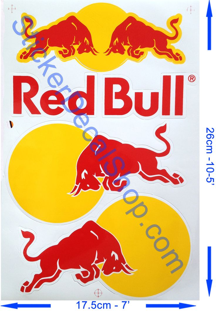 Red bull stickers with yellow outline on white background