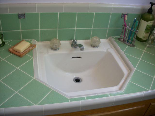 tile countertops for midcentury bathrooms