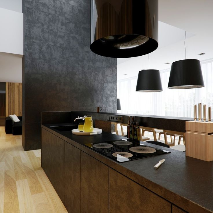 Kitchen:Modern Interior Kitchen Remodeling Minimalist Black And White Lofts Feat Impressive Black Pendant Lamps And Amazing Wooden Kitchen Table For Cafe Kitchen Design Majestic Loft Kitchen Ideas Plus Laminate Floor Minimalist Kitchen Remodeling Ideas with Big Brown Wooden Cabinets and Shelves