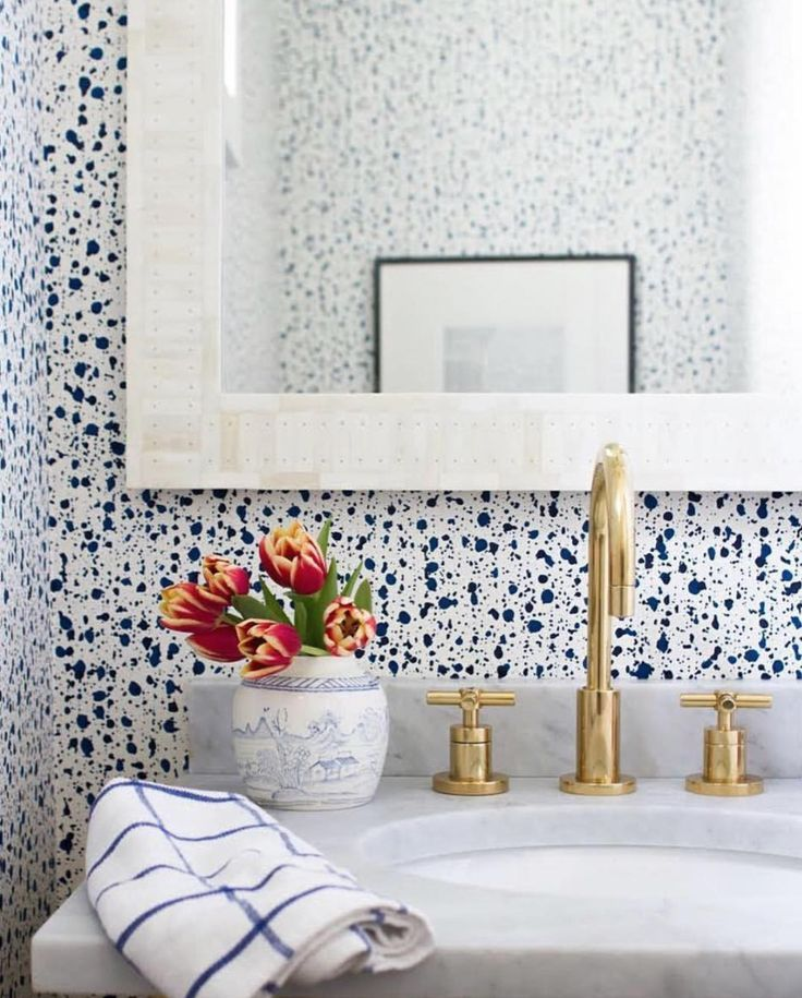 Interiors That Inspired Us This Month | 'Snow' wallpaper in Blue by Askov Finlayson for Hygge & West | Powder room decor